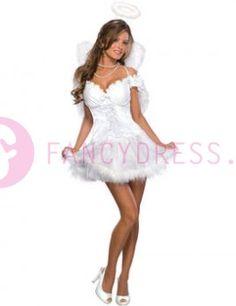 Dit Engelen kostuum bestaat uit:  Een kort jurkje.  Een halo.  Een paar vleugels.    Maten voor dit kostuum zijn:  Small: Maat 36-38  Medium: Maat 38-40  Large: Maat 40-42