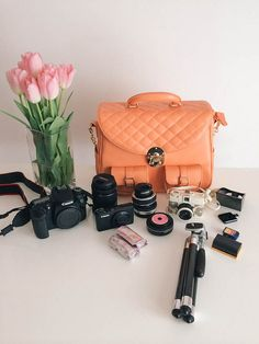 In my camera bag- Canon 70D, 18mm lens, Lensbaby, Powershot S95, extra film, pancake lens, Diana camera, mini tripod, extra SD cards, extra ...