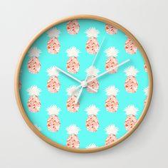Hala Kahiki Champagne Wall Clock by amayab Hawaii Pattern, Pineapple Art, Tropical Decor, Clocks, Champagne, Aqua, Trends, Chic, Wall