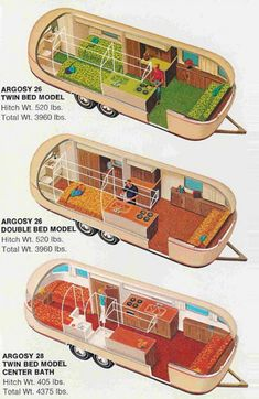 Argosy~Airstream interiors I really like the center layout mixed with the kitchen from the top one. Now if only I could find a cheap gutted long airstream Airstream Campers, Airstream Interior, Trailer Interior, Vintage Airstream, Vintage Caravans, Vintage Travel Trailers, Remodeled Campers, Camper Trailers, Vintage Campers
