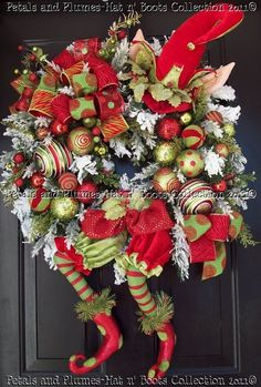 "Christmas Wreath-""Limey the Elf"" Petals & Plumes-Hat n' Boots Collection 2010©"