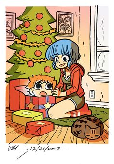 Happy holidays from Scott Pilgrim & Ramona Flowers! by Bryan Lee O'Malley Comic Books Art, Comic Art, Book Art, Scott Pilgrim Comic, Bryan Lee O Malley, Comic Style, Chibi, Ramona Flowers, Vs The World