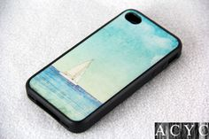 Sailboat on sea iPhone 4 iPhone 4S Case, Rubber Material Full Protection and Hard Plastic Case