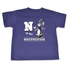 N is for Northwestern. Northwestern University Toddler T-shirt.  Go 'Cats!Go Dr. Seuss!