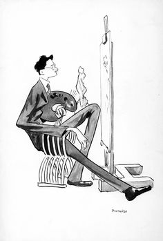 Pintando (Álbum de Auto-caricaturas), ca. 1903-1907. Debuxo a tinta sobre papel, 33,5 x 22,8 cm. Fundación Penzol - Biblioteca (Vigo)