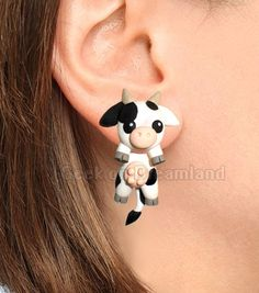 Black and Withe Cow Clinging Earrings