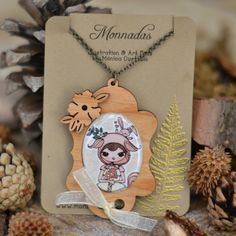 """Wood brooch with one of my illustrations from my """"In the Forest"""" Collection"""