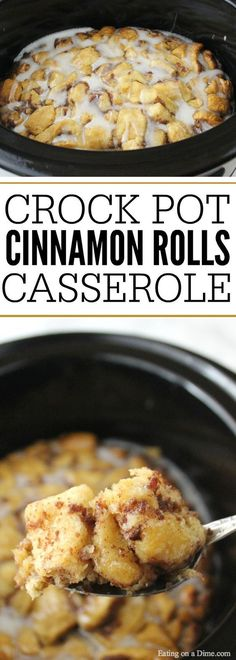 Quick and easy Crock pot Cinnamon Roll Casserole. It is the perfect breakfast casserole to throw together in minutes. Cinnamon rolls just got easier!