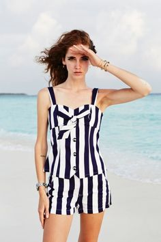 Maldivian stripes (The Blonde Salad) The Blonde Salad, Beachwear, Swimwear, Summertime, Stripes, Rompers, Clothes, Dresses, Women's Fashion