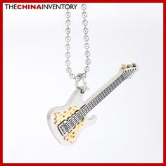 STAINLESS STEEL ELECTRIC GUITAR PENDANT NECKLACE P1704