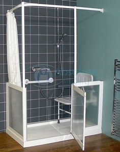 Disabled Shower #WetRooms >> Learn more at http://www.disabledbathrooms.org/barrier-free-disabled-shower.html