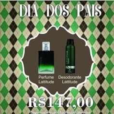 Presente para o Dia dos Pais. Perfume Lattitude e Desodorante. Compre através do link! Perfume, Link, Deodorant, Fragrance