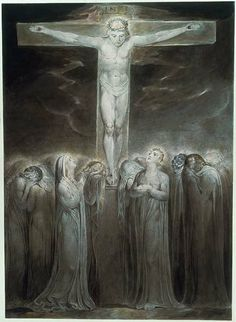 """William Blake: """"The Crucifixion: 'Behold Thy Mother'"""" (c. Illustration for the Bible (New Testament), object 1 (Butlin Pen, ink and water color. William Blake Paintings, William Blake Art, Tarot, Biblical Art, Jesus On The Cross, Holy Cross, Jesus Cristo, Classical Art, Religious Art"""