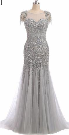 Evening Dresses Erosebridal Long Mermaid Prom Dress Sparkly Beading Bodice Formal Women Wear Sweep Train Vestido De Festa