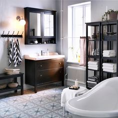 Our traditional-style HEMNES bathroom series is actually designed with the future in mind. Sturdy – it's mostly solid wood – it'll age beautifully, so you'll be able to enjoy it for years.