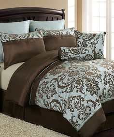 As the focal point of any bedroom, bedding deserves extra attention, and this set brings a spread of sophisticated style to décor. With an exquisite design in versatile, trendy hues, this set will create a cozy bedroom atmosphere full of classic elegance. Includes comforter, two shams, two Euro shams, bed skirt and two throw pillows