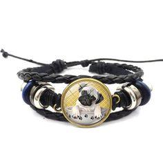 Vintage black leather bracelet Pug In A Tea Cup Dog Glass
