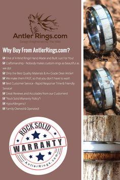 Handmade Custom Deer Antler Rings for Weddings, Birthdays, Christmas and more! For him and her, by popular demand!