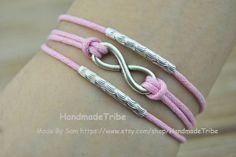 Silver Charm Cuff Bracelet Infinity Bracelet Pink by HandmadeTribe, $2.99 Personalized fashion handmade bracelet.The best holiday gift.