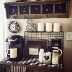 Coffee Bar Ideas - Looking for some coffee bar ideas? Here you'll find home coffee bar, DIY coffee bar, and kitchen coffee station. Coffee Bar Station, Coffee Station Kitchen, Coffee Bars In Kitchen, Coffee Bar Home, Home Coffee Stations, Keurig Station, Tea Station, House Coffee, Coffee Nook