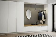 16 Elegant Scandinavian Hallway Designs That Can Improve Your Home 16 E. Hall Wardrobe, Hall Closet, Wardrobe Design, Home Furniture, Furniture Design, Flur Design, Hallway Designs, Mudroom, Entryway Decor