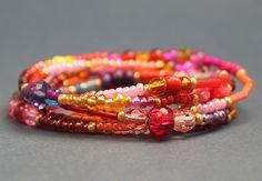 Armband Wickelarmband Kette Boho Hippie Gipsy rot orange bunt LeneWithLove