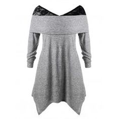 661c74796fa Plus Size Asymmetrical Lace Panel T-shirt - Gray 4x Polyamide Winter Plus  Size T