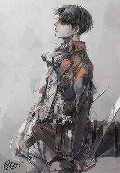 Levi Ackerman - Shingeki no kyojin ( Attack on Titan) Manga Anime, Fanarts Anime, Anime Guys, Anime Art, Armin, Levi X Eren, Levi Titan, Levi Ackerman, Ereri