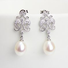 Drop pearl earingscrystal rhinestone and 925 silver by PearlOnly