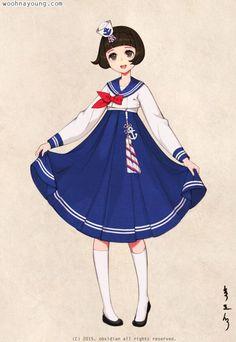 한복 HANBOK, Korean traditional clothes #hanbok    Sailor Hanbok세일러 한복Digital drawing, 2015 South Korea is extremely hot T_T한국의 여름 너무 더워요 ㅠ Homepage : Woohnayoung.comContact : woohnayoung@gmail.comFacebook : www.facebook.com/woohnayoungTwitter : twitter.com/00obsidian00Tumblr :woohnayoung.tumblr.com/Pixiv : pixiv.me/obsidian24Deviantart: theobsidian.deviantart.com/