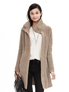 Mixed-Stitch Sweater Coat | Banana Republic (NOTE: collar, color, length)