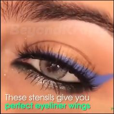 Winged Eyeliner Stencil, Cat Eye Eyeliner, Glam Makeup, Makeup Tips, Hair Makeup, Beauty Make Up, Hair Beauty, City Lips, Perfect Eyeliner