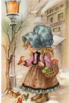 Holly Hobbie, Vintage Pictures, Vintage Images, Vintage Cards, Vintage Postcards, Cute Images, Cute Pictures, Art Mignon, Decoupage Vintage