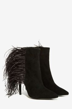 Black Feather Bootie