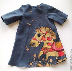 """Льняное детское платье. Ручная роспись.""""Скакун в яблоках""""  #вдохновение…"""