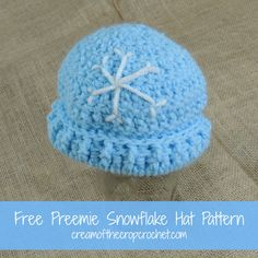 Cream Of The Crop Crochet ~ Preemie Snowflake Hat {Free Crochet Pattern}