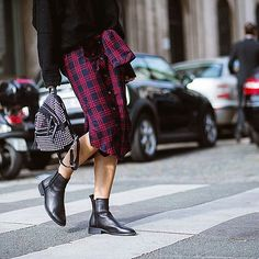 Plaid, studs and ankle boots, a #style trio worth trying this #fall. #PFW #streetstyle by theurbanspotter