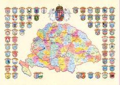 Nagy Magyarország térkép megyecímerekkel About Me Blog, Diagram, Explore, World, Homeland, Google, Tattoo, Geography, Hungary