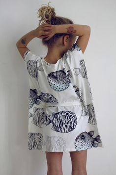 Fish dress - Super simple pillowcase shape with a cinched waist (slipped through with buttonholes on either side).