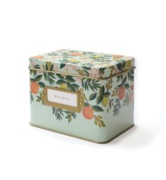 Citrus Floral Recipe File Box With 12 Dividers and 14 Recipe Cards