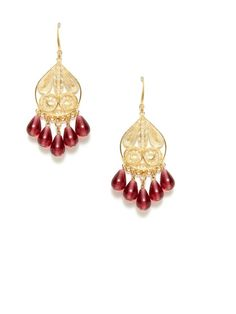 Gold Filigree & Jade Chandelier Earrings by David Aubrey at Gilt