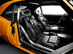 #BecauseSS 1968 CHEVROLET CAMARO CUSTOM 2 DOOR COUPE - yellow 68 pro-touring mesh wheels black grey. ridetech. custom interior seat grommets orange