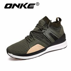2018 Breathable Knit Upper Mens Sports Sneakers New Style Running Shoes Men Lace Up Gym Shoes for Man Athletic Footware