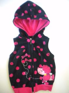 Weeplay Baby Size 6-9 Months Pink Poodle Polka Dot Fleece Hooded Girls Vest #WeePlay #Vest #Everyday