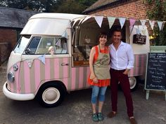 Florence our Vw vintage ice cream van with the lovely Matt Evers from Dancing On Ice http://www.pollys-parlour.co.uk/