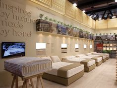 Candia Strom welcomes you to Salone Internazionale del Mobile 2013 which will be held from the to of April at Fiera Milano exhibition centre in Rho,. Showroom Interior Design, Furniture Showroom, Furniture Store Display, Shop Layout, Mattresses, Bed Design, Relax, Store Design, Decorating Rooms