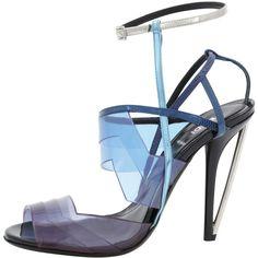 サンダル Colorblock PVC Sandal, Ocean Blue/Electric Blue FENDI (837 CNY) ❤ liked on Polyvore featuring shoes, sandals, colorblock shoes, fendi, electric blue shoes, summer shoes and block shoes