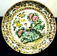 ANTIQUE CHINESE FAMILLE VERTE DISH , HAND PAINTED, 19TH CENTURY, NR.