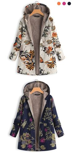 Leaves Floral Print Hooded Long Sleeve Vintage Coats – My Friends Page Edgy Outfits, Winter Fashion Outfits, Cool Outfits, Autumn Fashion, Vintage Coat, Mode Vintage, Vetements Clothing, Faux Fur Hooded Coat, Coats For Women