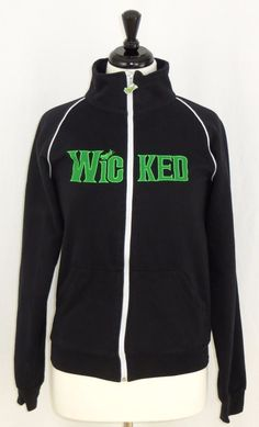 Wicked Organic Cotton Blend Black Green for Good Hoodie Witch Zip Pull S #Arcaca #Hoodie